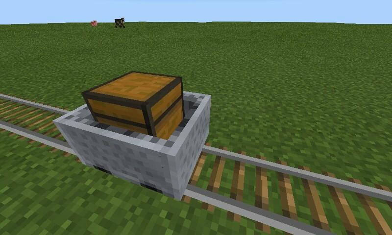 Вагонетка с сундуком в Minecraft Pocket Edition 0.14.1