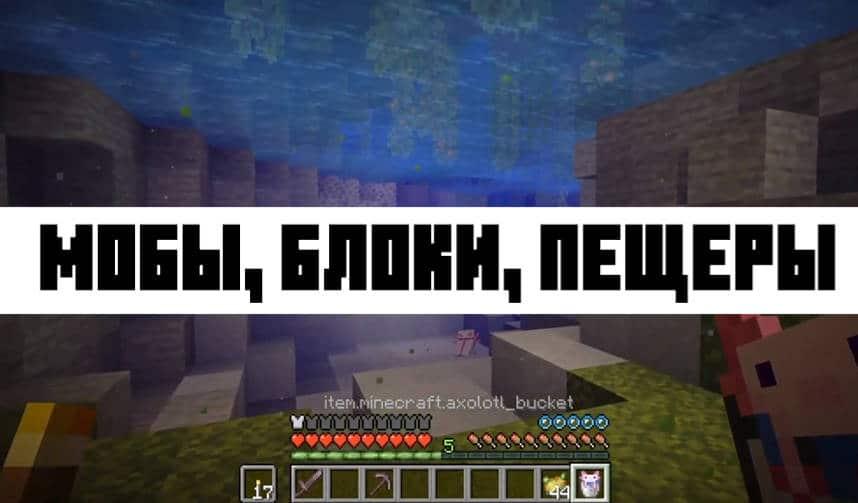 Мобы, блоки и пещеры Minecraft Java 1.17