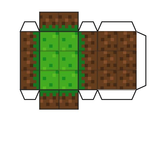 Очередная подборка схем Minecraft из бумаги — трава