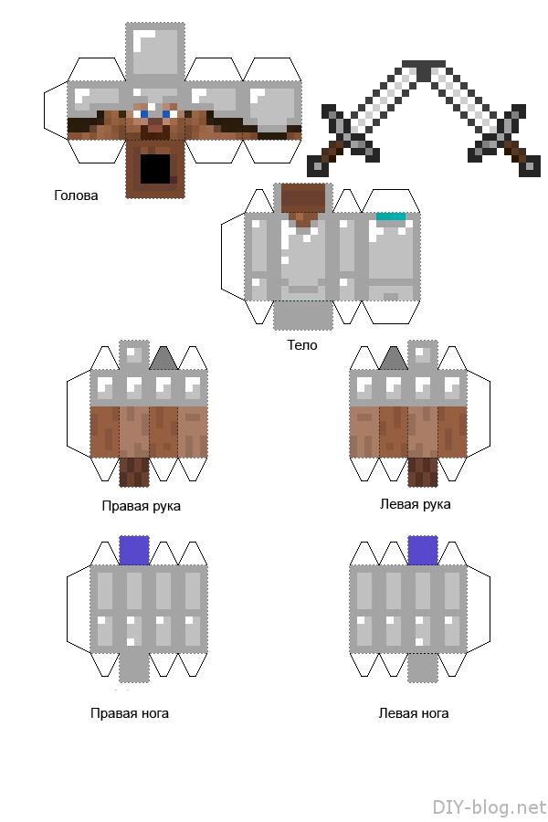Бумажная модель Стива из Minecraft