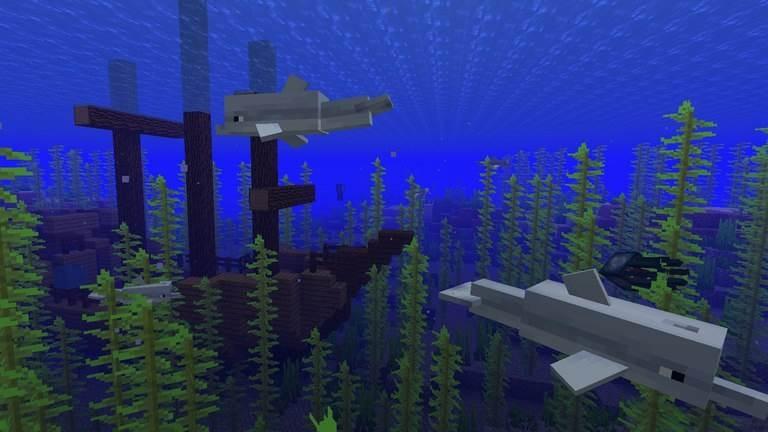 дельфины в майнкрафт бедрок 1.4